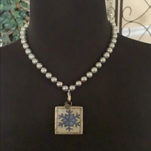 Jewel Kade silver pearl necklace and charm